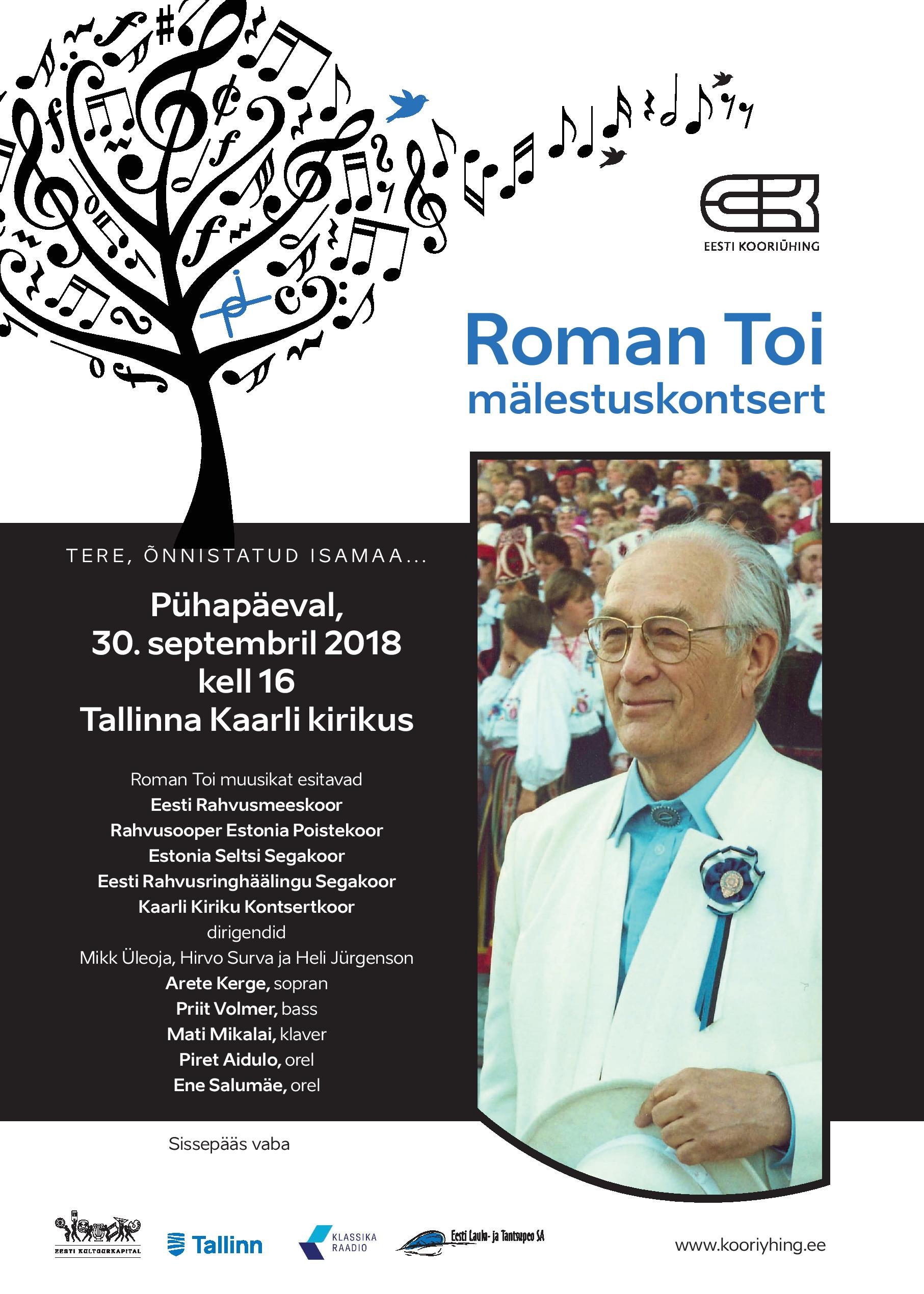 Roman Toi mälestuskontsert 30.09